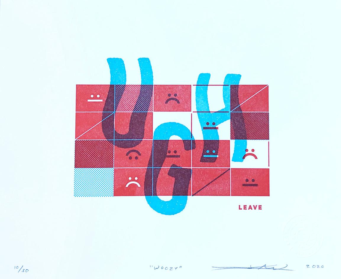 "Jesse Kirsch / No Plan Press  ""WOOZY"" Letterpress"