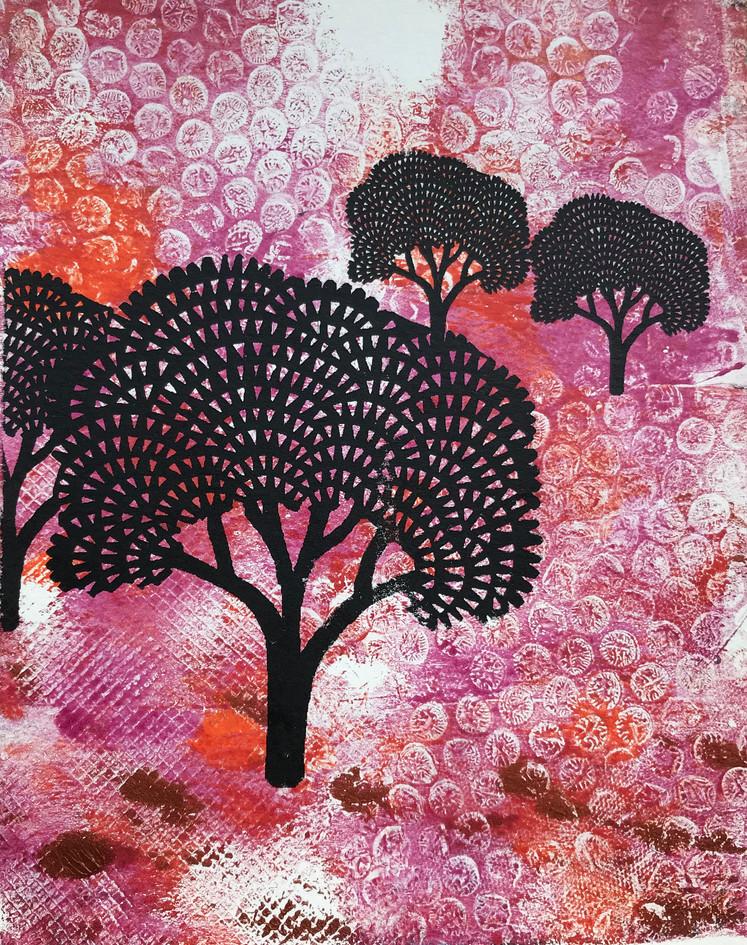 """Bonnie Magness-Gardiner  """"Imaginary Landscape"""" Monoprint"""
