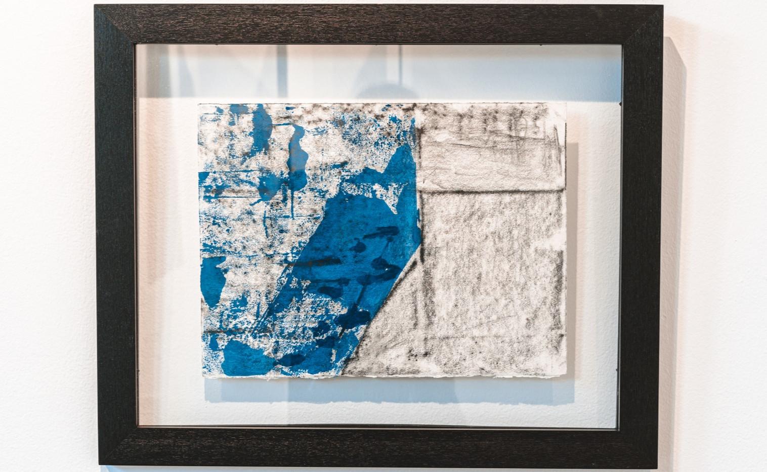 "IRA TATTELMAN  ""Alongside the Vardar River""  Monoprint on Fabriano Tiepolo paper 18.75"" x 22.75"" framed 2019 $425  Photograph by StereoVision"