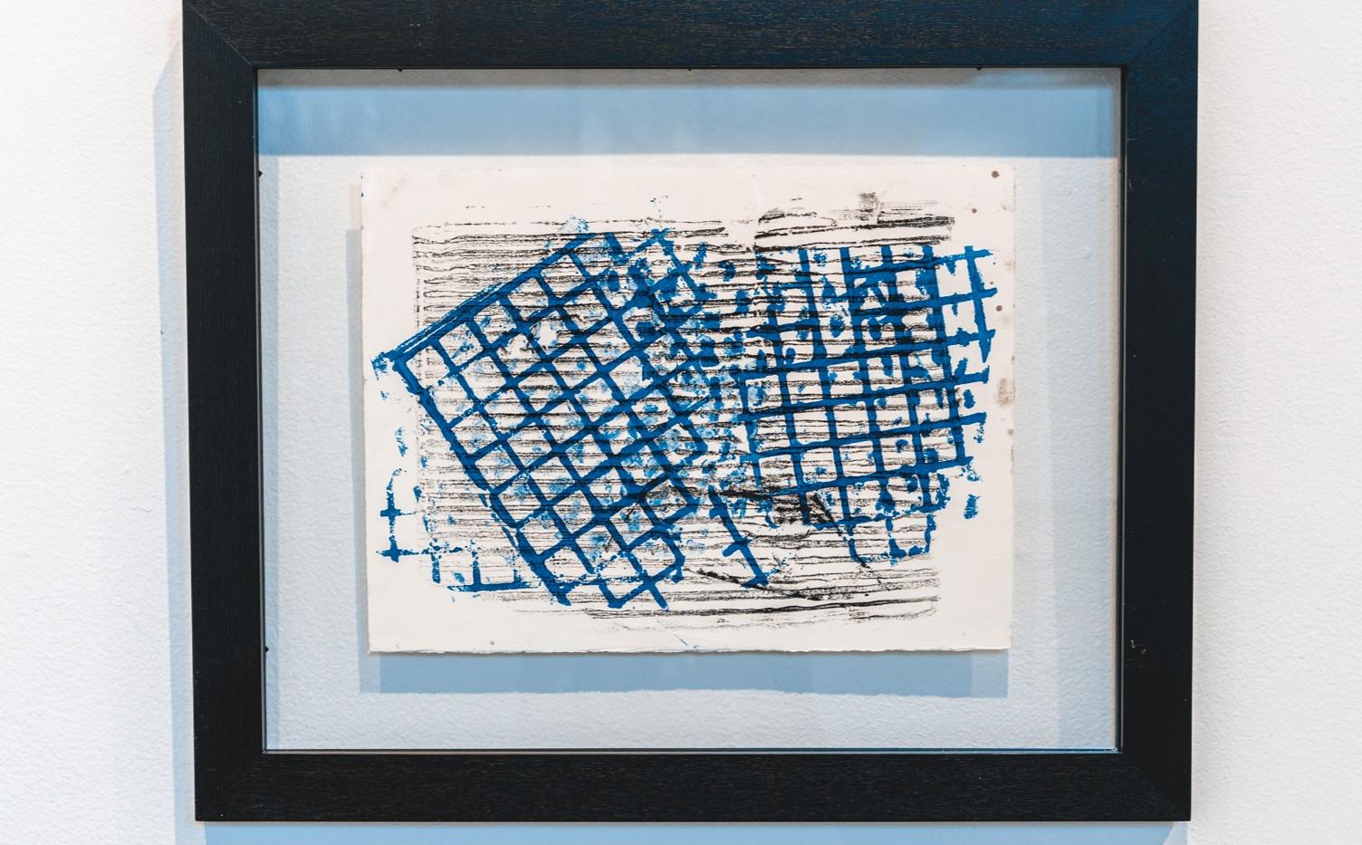 "IRA TATTELMAN  ""Bridging the Vardar River"" Monoprint on Fabriano Tiepolo paper 18.75"" x 22.75"" framed 2019 $425  Photograph by StereoVision"