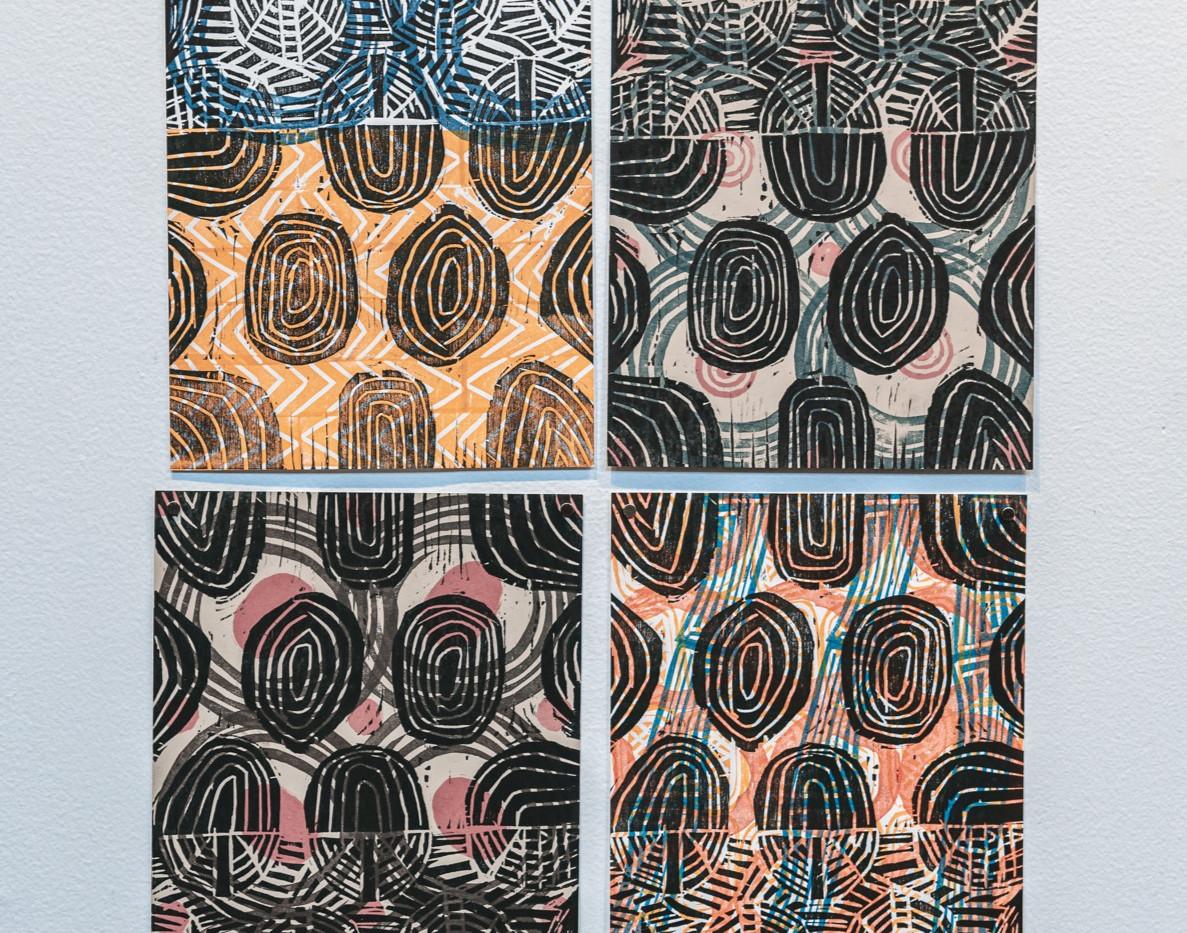 "SARAH MATTHEWS  ""Rings"" (set of 4) 12"" x 8"" Woodblock and block print 2020 NFS  Photograph by StereoVision"