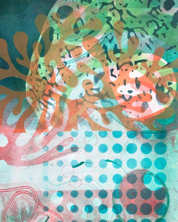 "Angela Wolak  ""Dendrite Party"" Acrylic (gelatin monoprints)"