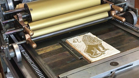 Printing the 2020 Letterpress Calendar page for August on the Vandercook press!