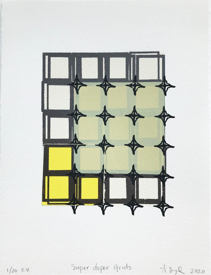 """Adi Segal  """"Super Duper Grids"""" Screenprint and collage"""