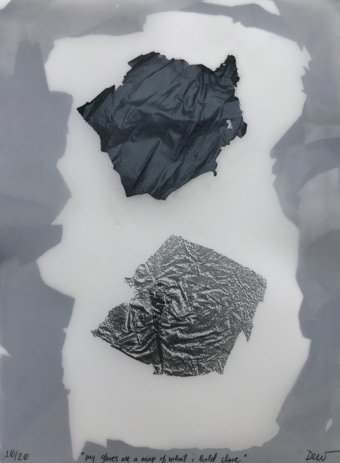 """Grace Marie DeWitt  """"my gloves are a map of what i hold close"""" Double-sided screenprint on yupo"""