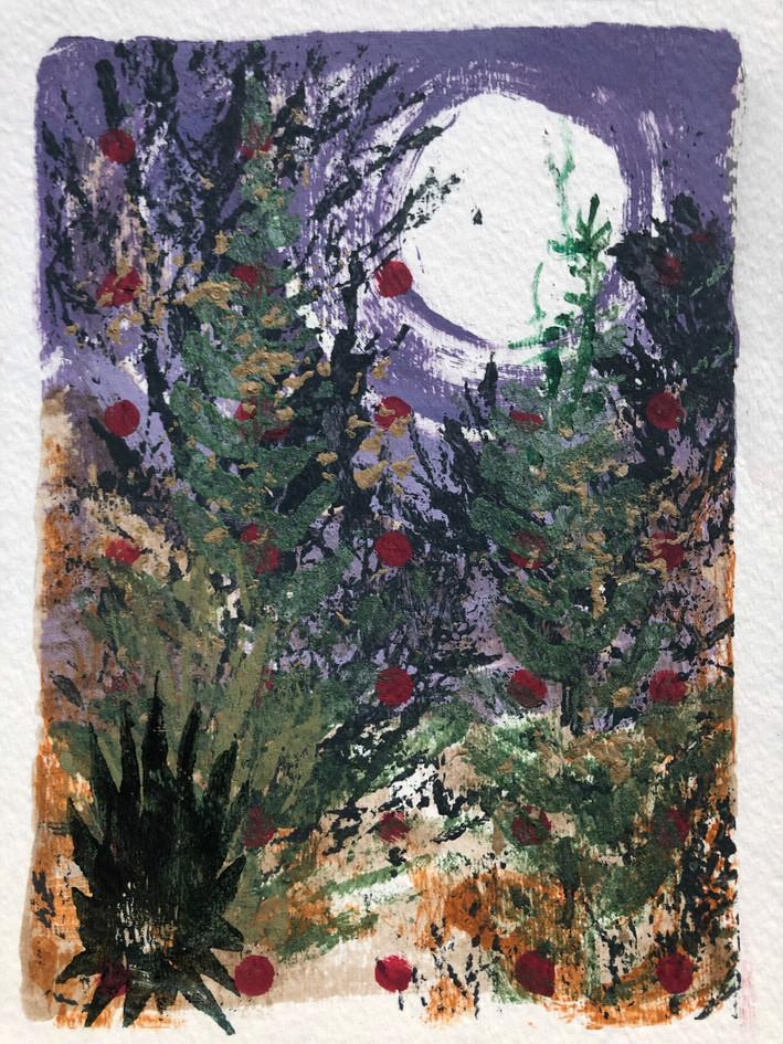 "Emily Eve Weinstein  ""May Moon"" Monoprint (acrylic paint)"