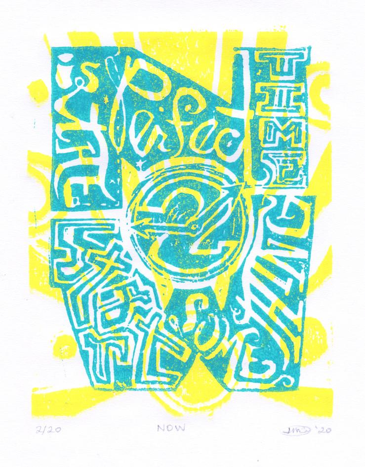 """Jen Sheckels  """"NOW"""" 2-color linocut"""