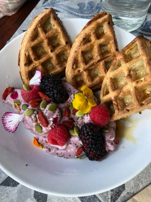 We've been told this is the best acai bowl in Portland. Topped with banana, honey, flax, hemp and seasonal berries, we hope you'll agree. Enjoy with our gluten-free waffles.
