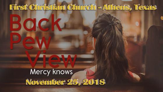 November 25 Sermon - Back Pew View