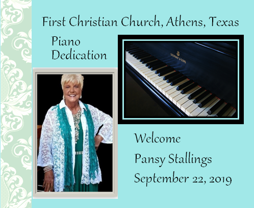 Piano Dedication and Pansy Stallings, pianist