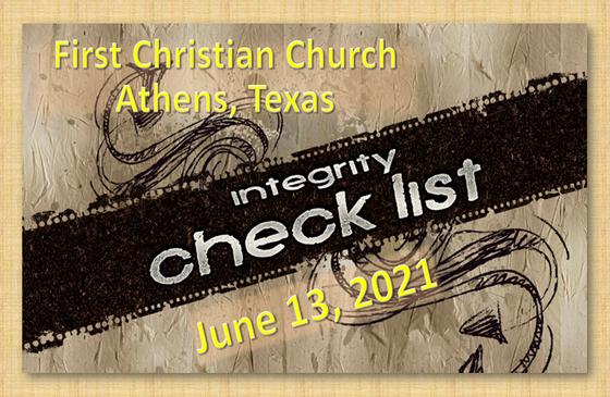 Integrity Checklist 6/13/21