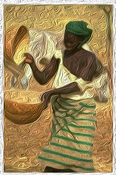 Pintura_Oleo-original mujer africanal.pn