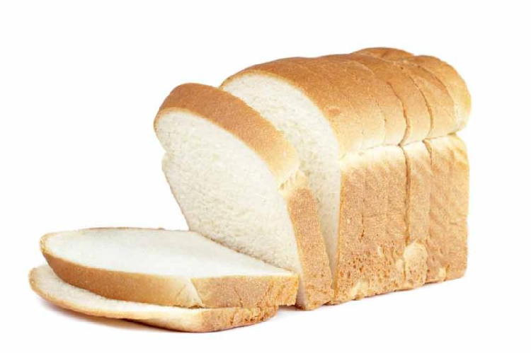 sliced white bread with white background