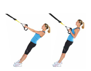 fit woman performing an inverted row with suspension straps