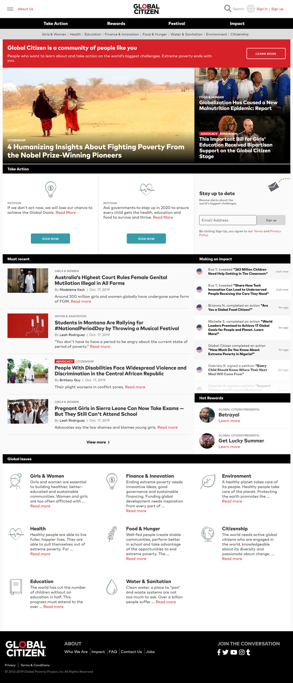 Global Citizen Home Page