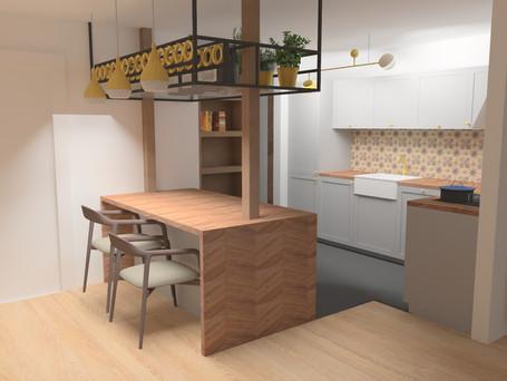 Projekt kuchni - kamienica w Sopocie