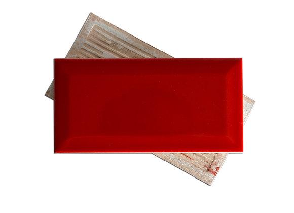 Subway Rojo - Biselado Brillante (m2)