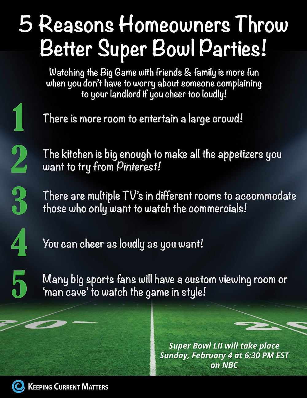 5 Reasons Homeowners Can Throw Better Super Bowl Parties! [INFOGRAPHIC] | Keeping Current Matters