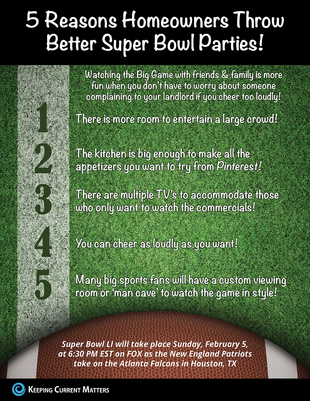 5 Reasons Homeowners Throw Better Super Bowl Parties! [INFOGRAPHIC] | Keeping Current Matters
