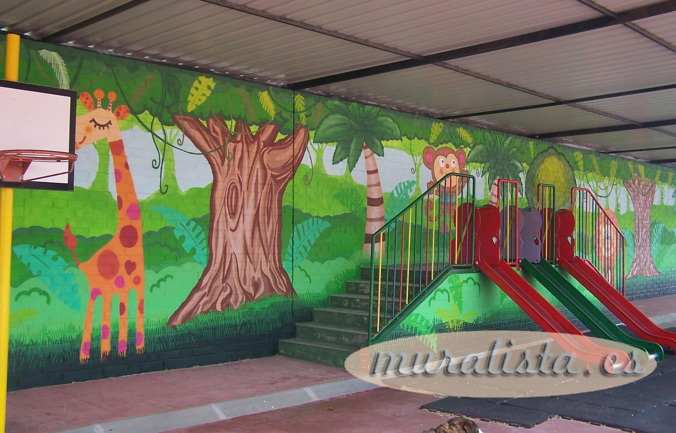 escuela infantil mural selva animales