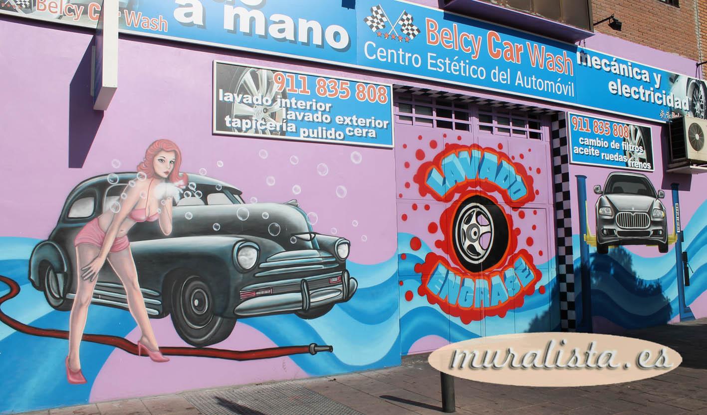 Decoracion graffiti pintura mural lavado coches 2013