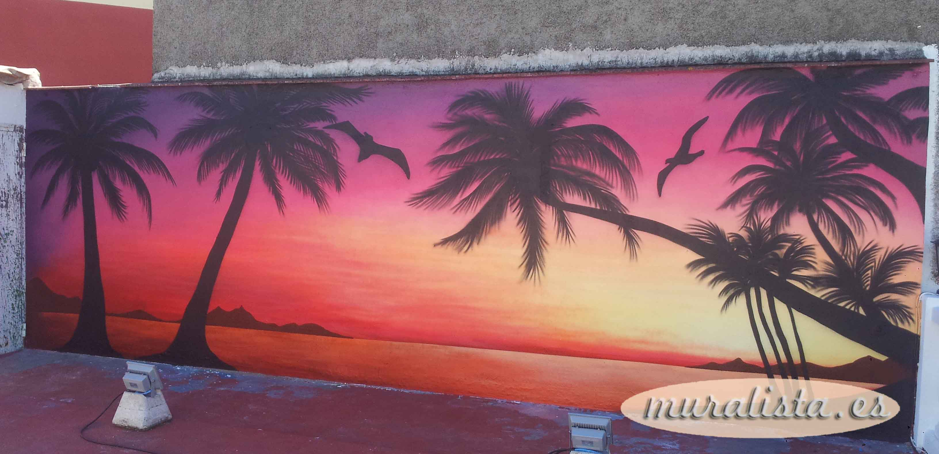 mural playa atardecer