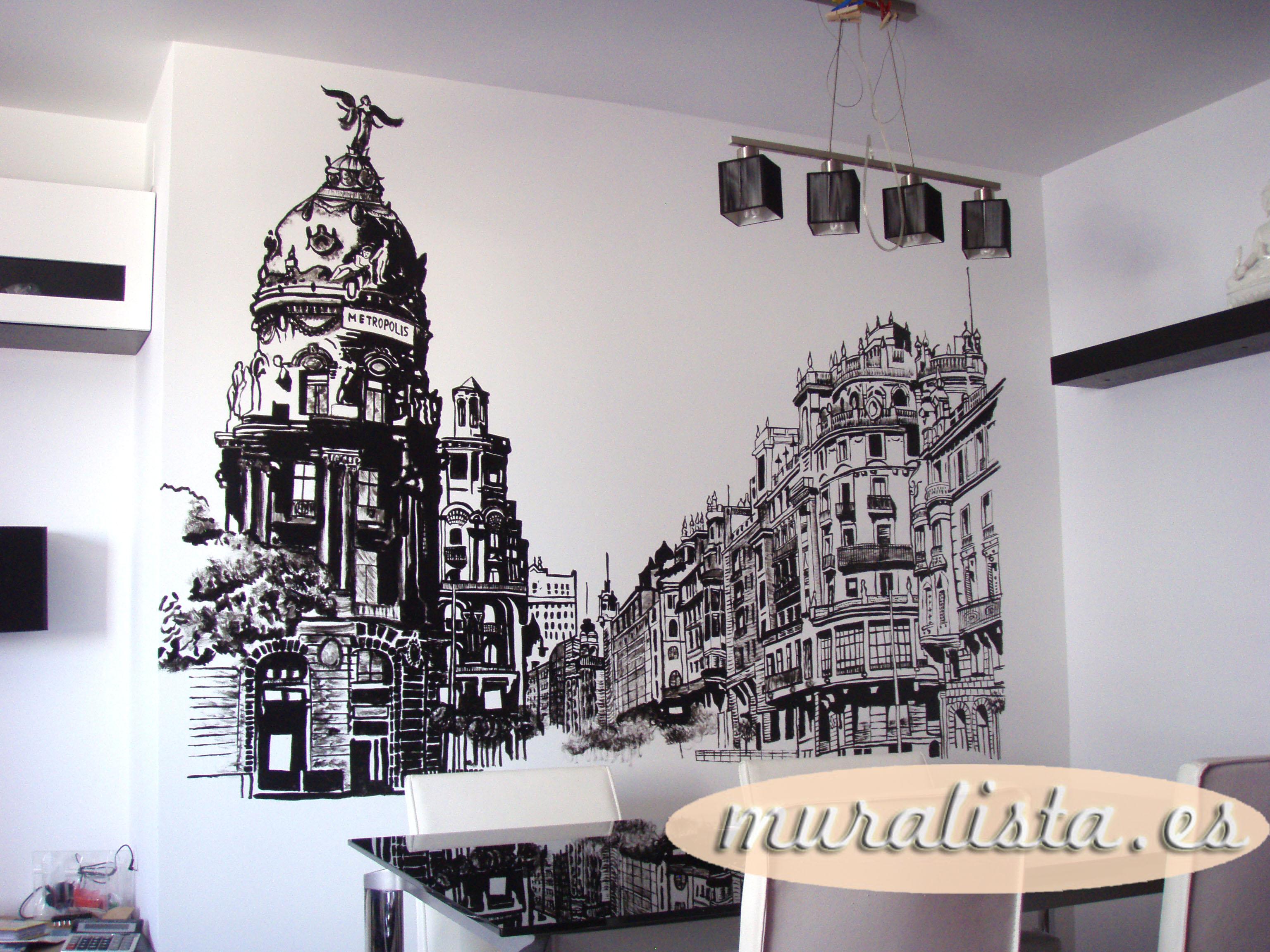 GRAN VIA MADRID PINTURA MURAL DECORACION
