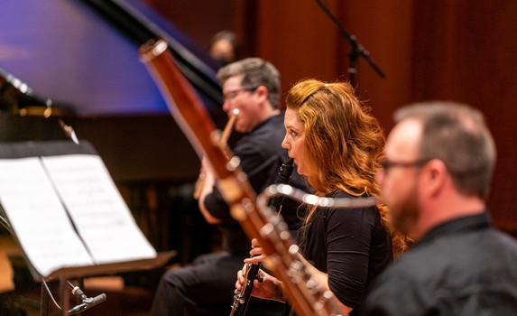 Jennifer Hermann (piano), Mary Jensen (flute), Ashley Cook (clarinet), and Brian Geddes (bassoon)  Photo Credit: Seattle Symphony / James Holt; Benaroya Hall