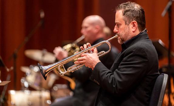 John Wells (trumpet), James Harper (French horn), and Michael Fox (percussion)  Photo Credit: Seattle Symphony / James Holt; Benaroya Hall