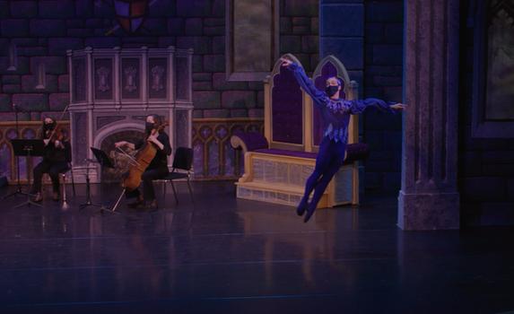 Ballet Northwest & Olympia Symphony Collaboration: Bluebird Variation, from The Sleeping Beauty (Tchaikovsky)  Video Still Credit: Ballet Northwest / Sky Bear Media; Washington Center for the Performing Arts