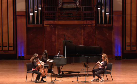 Trio: Holly Reeves (cello), Jennifer Hermann (piano), and Ashley Cook (clarinet)  Video Still Credit: Seattle Community Stages Fund / Benaroya Hall