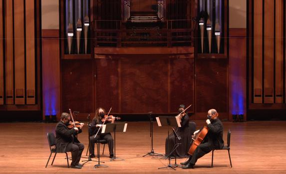 Chinook String Quartet: Austin Schlichting (violin), Lisa Pearson (violin), Katherine Sartori (viola), Joe Sokolik (cello)  Video Still Credit: Seattle Community Stages Fund / Benaroya Hall