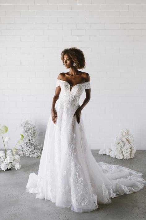 Off the Shoulder Wedding Dresses   Bridal Shop   San Antonio TX   Bridla Galleria of Texas