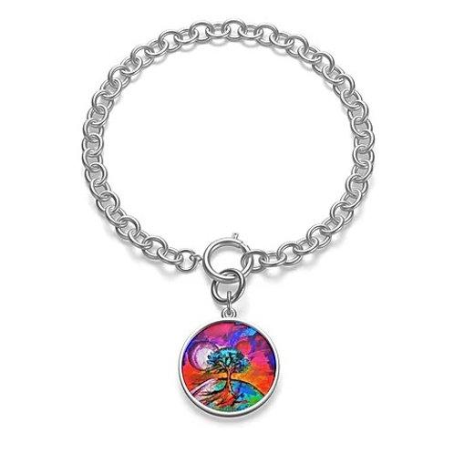 Chunky Chain Bracelet W/Tree of Life Charm