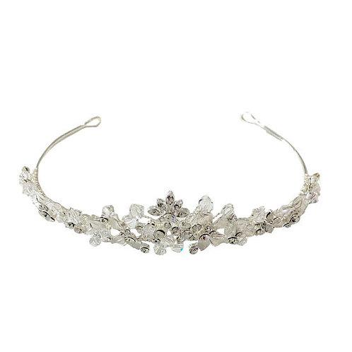 Crystal & Diamante Leaf Tiara