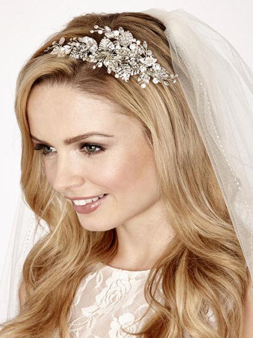 Diamante Spray & Leaf Bridal Side Band