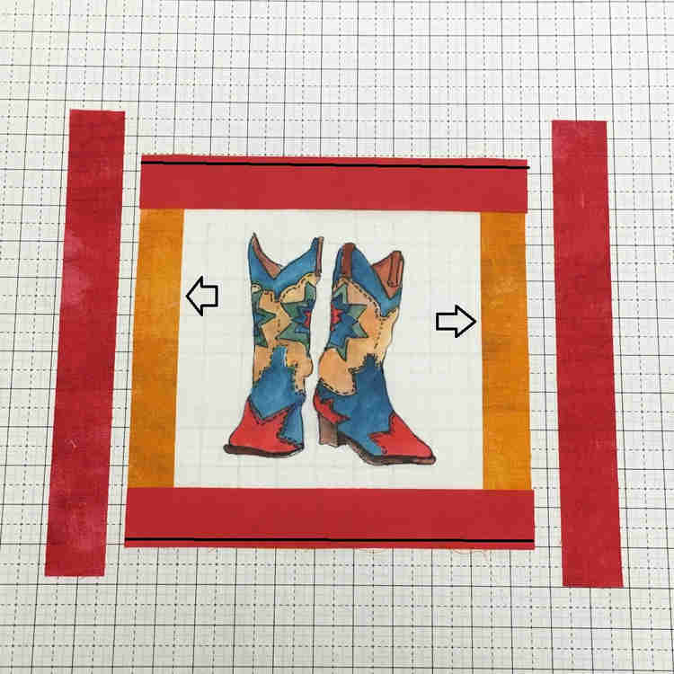 second border - red fabric