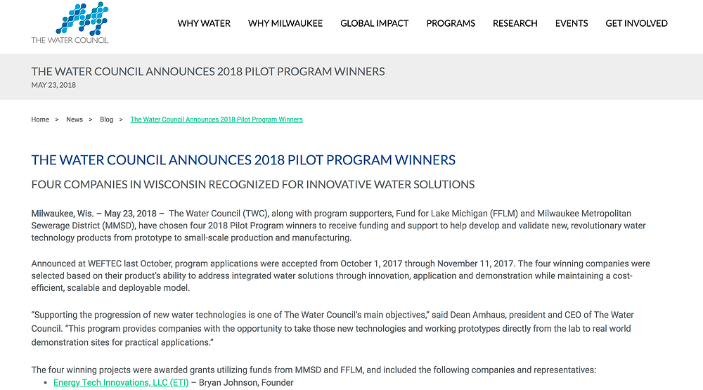 The Water Council Announces 2018 Pilot Program Winners