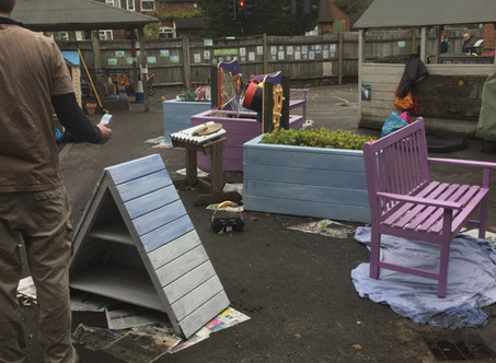 Reception parents come together to renovate the children's outdoor area