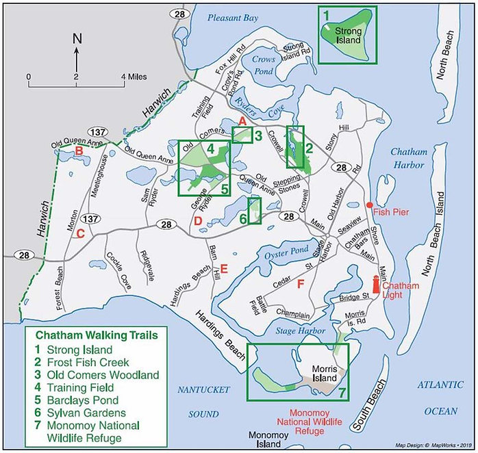 Map of hiking trail in Chatham, MA.