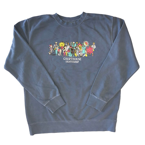 Be Here Now Blue Crewneck