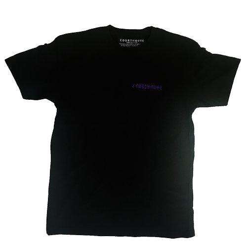 Olde Embroidery Tee - Purple on Black