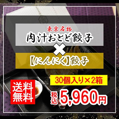 【肉汁おとど餃子】と【にんにく餃子】のセット