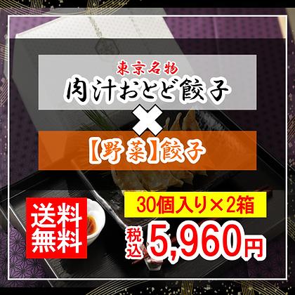 【肉汁おとど餃子】と【野菜餃子】のセット