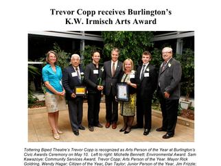 Trevor Copp receives Burlington's K.W. Irmisch Arts Award