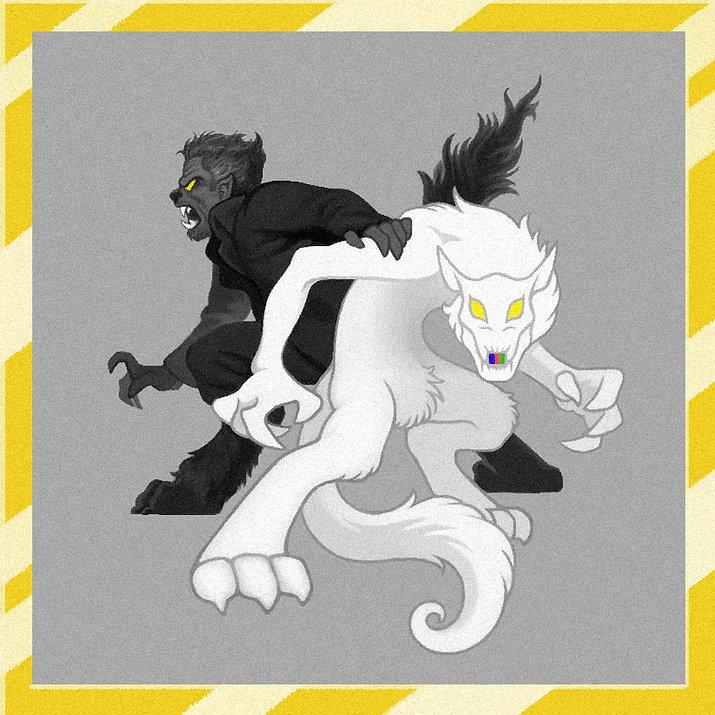 Werewolves back to back (Rainbow maw)