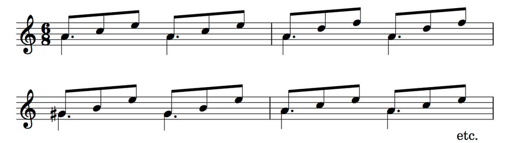 Triadic guitar accompaniment on higher string sets