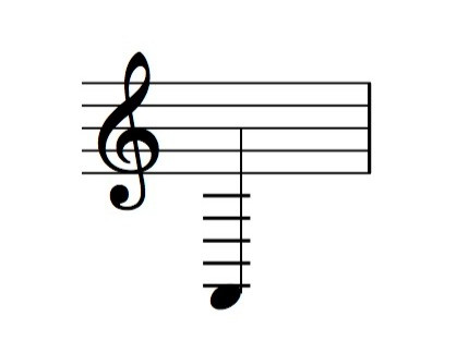 A2 note notated in treble clef