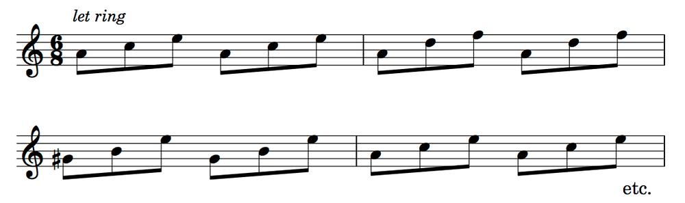 Triadic guitar accompaniment in A minor