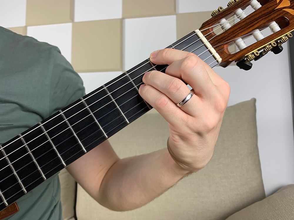 F# major 7 chord fretted on four strings